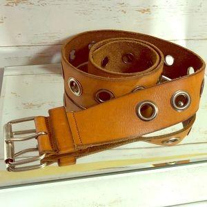 BKE *Hipwear* Brown Leather Belt w/Silver Grommets